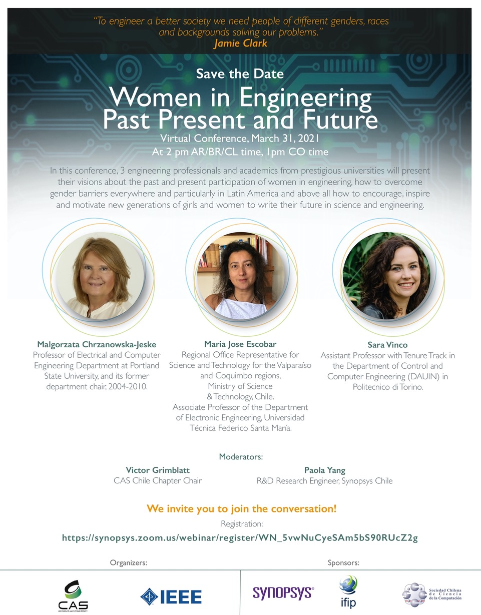 IEEE CASS Women in Engineering, Past, Present and Future: March 31, 2 PM (Chile Time, GMT-3)